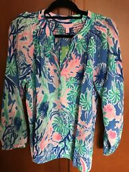 LILLY PULITZER $158 NWT ELSA SILK TOP IN 'JET STREAM' LADIES SIZE LARGE 1012