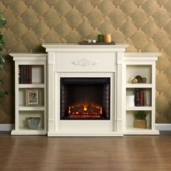 White Electric Fireplace Media Center Bookcase 70