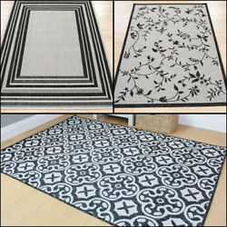 Modern Flatweave Indoor and Outdoor Grey Rug in 3 Designs and 4 sizes Carpet