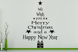 We Wish You A Merry Christmas Happy New Year Tree Wall Art Decal Sticker Picture $66.39