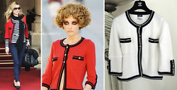 $2.9K MOST WANTED 10C CHANEL NAVY WHITE CASHMERE JACKET CARDIGAN SWEATER 38