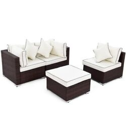 4 PCS Patio Porch Garden Furniture Set Wicker Rattan Middle Corner Sofa Ottoman