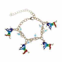 Women's Multicolor Horse Unicorn Charm Beads Link Chain Bracelet Gifts Jewelry