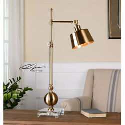 Plated Brass Metal Table Desk Lamp Adjustable Accent Reading Light Office Decor $248.60