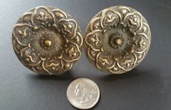 2 ANTIQUE Style SOLID BRASS SCREW ON LARGE ROUND KNOBS FLORAL DESIGN 2quot; dia #Z27 $17.95
