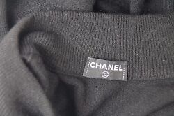 Chanel Black 100% Cashmere Long sleeve turtle neck sweater with buttons. 2