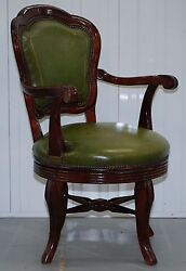 VINTAGE GREEN LEATHER WITH GOLD TOOLING MAHOGANY CAPTAINS SWIVEL OFFICE CHAIR