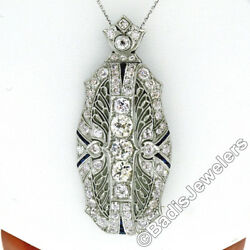 Antique Art Deco Platinum 5.80ctw Diamond & Sapphire Filigree Pin Brooch Pendant