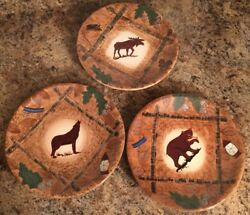 "3 8"" Salad Plates Rustic Woods Cabin Decor Moose Wolf Bear"
