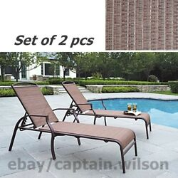 Patio Chaise Lounge Set of 2 pcs Adjustable Back Deck Brown Relax Chair Outdoor