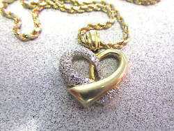 30 inch Necklace with 1.50 ctw VS1-FG Diamond Pave Heart Pendant   Make Offer