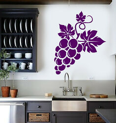 Vinyl Wall Decal Bunch Of Grapes Fruit Wine Kitchen Decor Stickers 2674ig $21.99