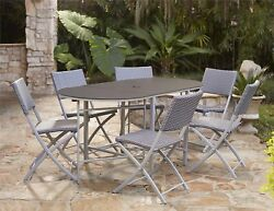 Compact Patio Bistro Set Outdoor Furniture Table Chairs Steel Frame 7 Piece NEW