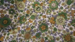 Vintage Cotton Fabric SHADES OF GREEN amp; GRAY FLORAL 1 Yd 35quot; Wide Manes $12.00