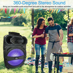 Bluetooth Party DJ Karaoke PA LED Speaker With Mic Rechargeable USB FM Portable