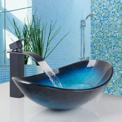 A Oval Tempered Glass Vessel Sink Faucet Bathroom Pop-Up Drain Combo Tap Set $110.20