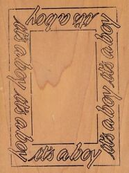 it's a boy name brand  Wood Mounted Rubber Stamp 5 12 x 4