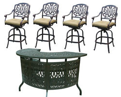 Patio bar set Elisabeth outdoor furniture 5pc 1 table and 4 swivel bar stool's.