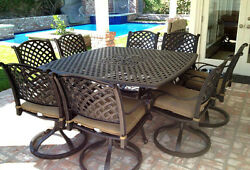 Cast aluminum patio furniture 9pc outdoor dining set with 64 square table Bronze