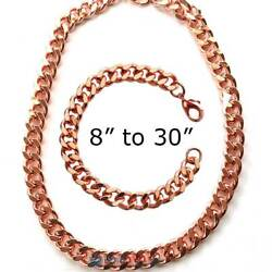 12MM PURE SOLID COPPER MEN CUBAN CHAIN CURB LINK BRACELET NECKLACE ARTHRITIS PC6
