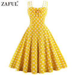 Vintage 1950s Retro Rockabilly Swing Dress Plus Size Polka Dot Summer Dress HOT