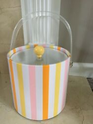 Vintage Ice Bucket Plastic Pink Pastel Striped Retro GLAMPING She Shed Excellent