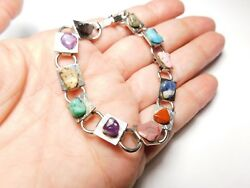 Natural Stone Nugget Silver Tone Metal Panel Bracelet Vintage 7 14 inches