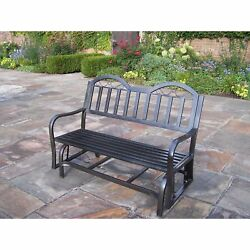 Glider Outdoor Bench Wrought Iron Garden Slatted Backed Seat Patio Furniture