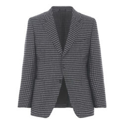 TOM FORD Wool Cashmere Sport Coat 40US  50EU Gray Black Check Leather Inserts