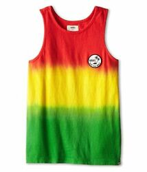 Vans Off The Wall Kids Boys Vibe Tank Top Shirt Rasta Red Green Yellow $16.50