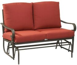 Hampton Bay Outdoor Glider Chaise Lounge Chair Cushioned Weather Resistant Red