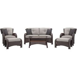 Outdoor 6-Piece Brown Resin Wicker Patio Furniture Lounge Set with Silver Seat C