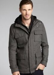 Excellent Used Condition Calvin Klein Wool-Blend Twill Hooded Jacket Men's Med