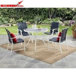 5 Piece Patio Dining Set Outdoor Blue Chairs White Glass Table Garden Furniture