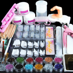 Acrylic Nail Kit Acrylic Powder Glitter Nail Art Manicure Tool Tips Brush Set US $18.89