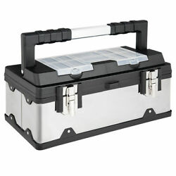 18 Inch Tool Box Stainless Steel and Plastic Portable Organizer w Lid Organizer