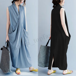 S 5XL ZANZEA Women Cross V Neck Sleeveless Shirt Dress Long Maxi Dress Plus Size $10.80
