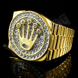 18K Gold Plated Bling Out ICED CZ Presidential Style Band Mens Pinky Ring