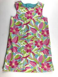 Gymboree 7 Girls Palm Springs Reversible Flamingo Tropical Floral Shift Dress