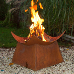 Wood Burning Fireplace Fire Pit Modern Large Outdoor Bowl Square Industrial Pede