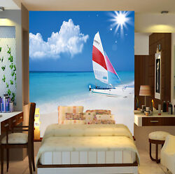 3D Sailboat Sky Beach 4 Wall Paper Wall Print Decal Wall Deco Indoor Mural Carly