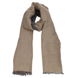 BRUNELLO CUCINELLI Women's Cashmere Alpaca Mohair Brown Gray Scarf Made in Italy