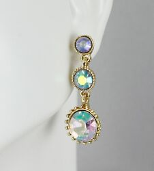 Gold iridescent chandelier earrings small beads dangle post pendant 1.25quot; long $8.97