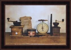 THE DAILY GRIND by Billy Jacobs 15x21 FRAMED PICTURE ART Kitchen Coffee Grinder $36.95