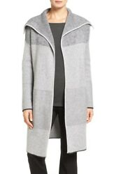 NEW Nordstrom Collection Mixed Rib Cashmere Open Front Cardigan S Gray