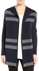 NEW Nordstrom Collection Cashmere Blend Double Knit Sweater Coat- Navy S $599