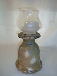 French terracotta candle holder base made of terracotta and glass h-12.25