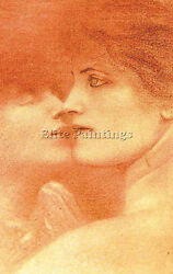KHNOPFF FERNAND BELGIAN 1858 ARTIST PAINTING REPRODUCTION HANDMADE OIL CANVAS