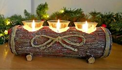 Rustic Log Candle Holder Table Centre Piece Tea Light Home Decor Candle Set NEW