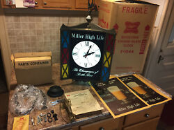 Miller Beer Sign  Clock - Revolving Lighted Sign IN ORIGINAL BOX!